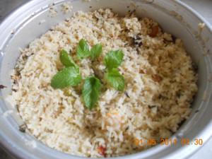 Coconut rice prepared in Electric cooker