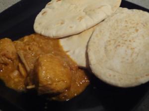 Chicken tomato curry with Pitta bread