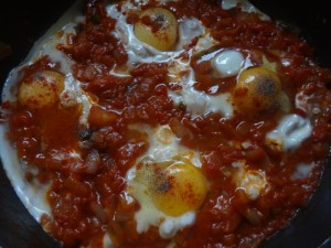 After adding eggs and sprinkle some salt and pepper