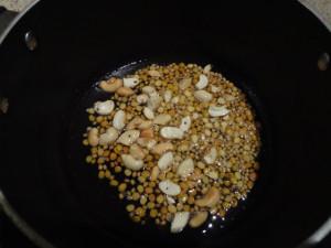Chana dal, urad dal, cashew nute were added.