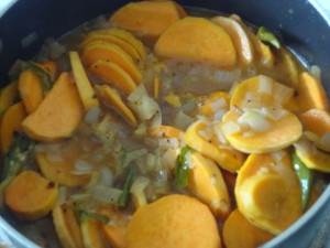 cook sweet potatoes in the tamarind mixture